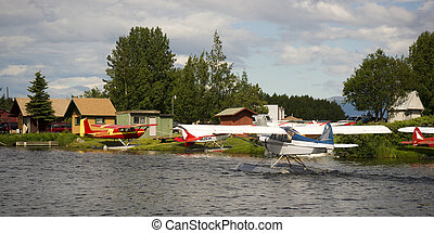 Seaplane Taxis into Lake Hood Ted Stevens National Airport Ancho