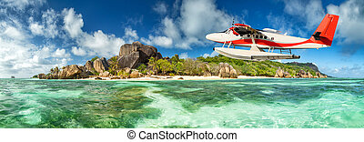 Seaplane with Seychelles island - Beautiful Seychelles...