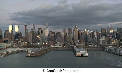Seaport and New York City in the background -USA-New...