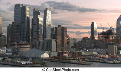 Seaport and New York City,twilight time