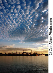 Seaport and Sky At Sunset