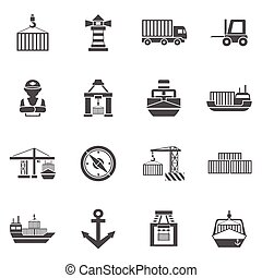 Seaport Black Icons Set - Seaport black icons set with...