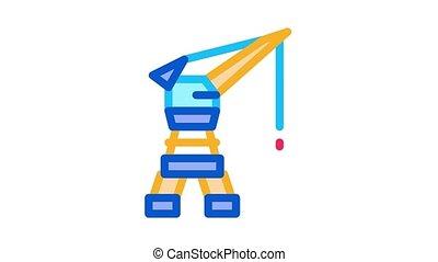 Seaport Crane Icon Animation. color Seaport Crane animated icon on white background