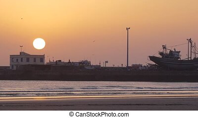 seaport of Essaouira, sunset