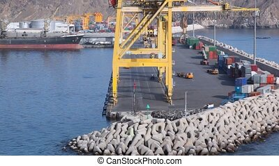 seaport of Muscat, Oman, view from top deck of sailing...