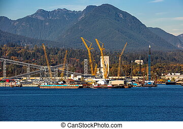 Seaport of North Vancouver city - The urban landscape of...