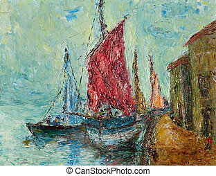 Seaport Painting - Oil and pallete knife abstract painting...