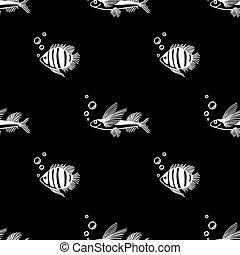 seaquarium, markt, shop., verpackung, aquariumfisch, poppig, geschäfte, design, scrapbooking, seamless, gewebe, meer, hintergrund., muster, bubbles., gebrauch, schwarz