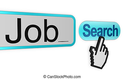 search a job - search box with the word JOB and a hand...