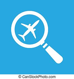 search airplane pictogram flat icon on a blue background