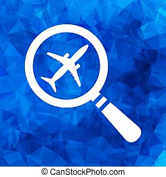 search airplane pictogram flat icon on a blue Triangular Polygon