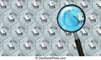 Search and find best good employee job office staff human resources HR job seeking concept with magnifier. Best job search, best employee, best agency.