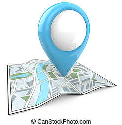 Search and find. - Map with Blue GPS Pointer. 3D render and...