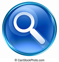 search and magnifier icon blue, isolated on white...