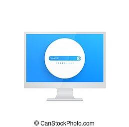 Search bar vector design on screen