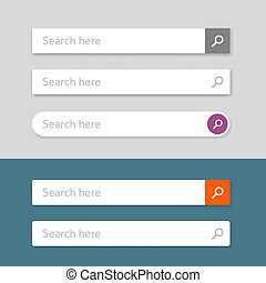 Search bar vector element design, set of web searching boxes with shadow ui template