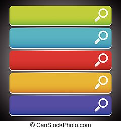 Search bars, buttons with magnifier glass symbols