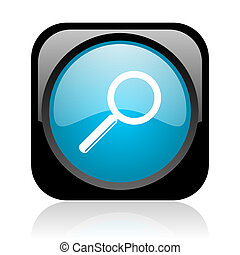 search black and blue square web glossy icon