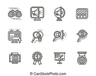 Search black line vector icons set