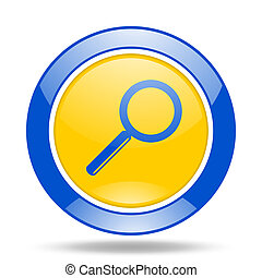 search blue and yellow web glossy round icon