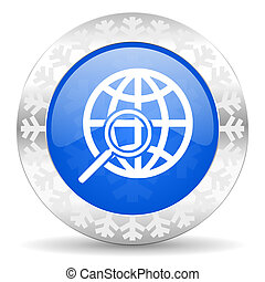 search blue icon, christmas button