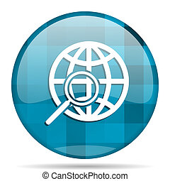 search blue round modern design internet icon on white background