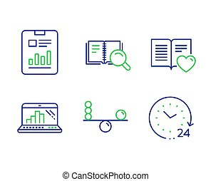 Search book, Balance and Love book icons set. Graph laptop, Report document and 24 hours signs. Vector