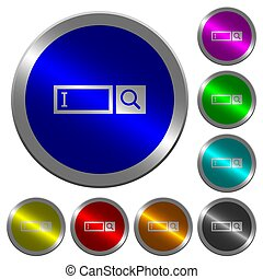 Search box luminous coin-like round color buttons