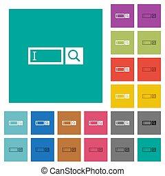 Search box square flat multi colored icons