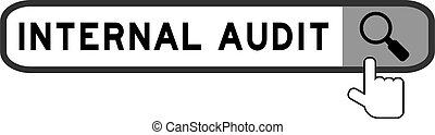 Search box with word internal audit and hand icon over magnifier on white background