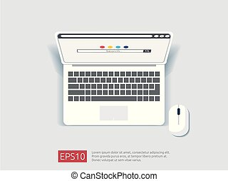 search browser bar on top view laptop screen. flat style vector illustration