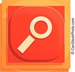 Search button interface icon, cartoon style