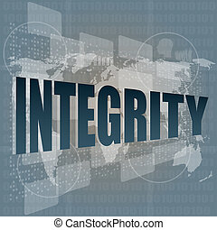 search button to find integrity word on a touch screen...