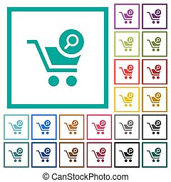 Search cart item flat color icons with quadrant frames on...