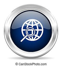 search cirle glossy dark blue web icon on white background