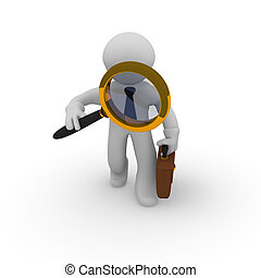 3d small business character with magnifying glass
