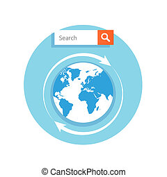 Search concept address bar with globe icon and magnify glass...