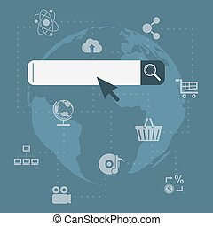 search concept - picture of search tool with icons and world...
