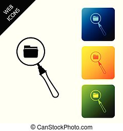 Search concept with folder icon isolated. Magnifying glass and document. Data and information sign. Set icons colorful square buttons. Vector Illustration
