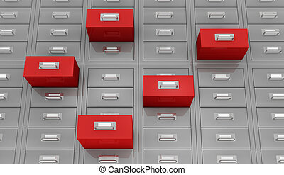 search data - one closeup view of a file drawer with open...