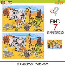search differences game with wild animals