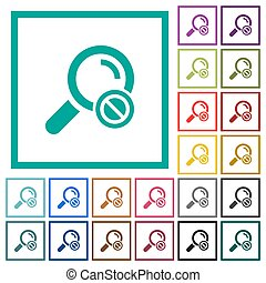 Search disabled flat color icons with quadrant frames on...