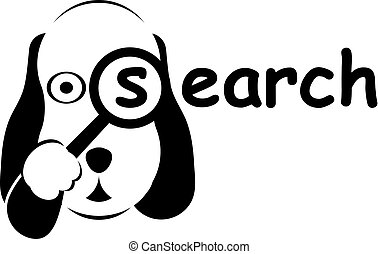 Search dog logo in black and white colors.