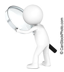 Search. - 3D little human character with a Magnifying Glass....