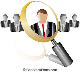 search Employee Icon for Recruitment Agency Magnifier with Business