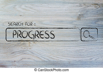 search engine bar, search for progress