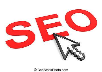 Search Engine Optimization and arrow cursor. SEO concept.