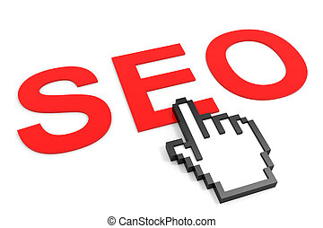 Search Engine Optimization and hand cursor. SEO concept.