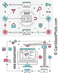 Search Engine Optimization and Web development flat thin line design banners. Vector concept elements, icons