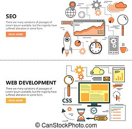 Search Engine Optimization and Web development flat thin line design banners. Vector icons
